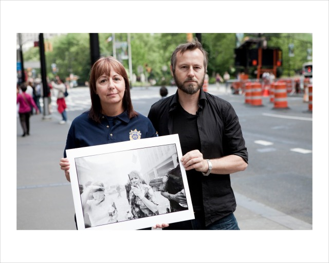 Captian Patricia Mack and Jason with his photograph of her from 9/11