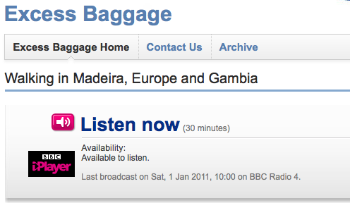 BBC Radio 4 'Excess Baggage' with John McCarthy
