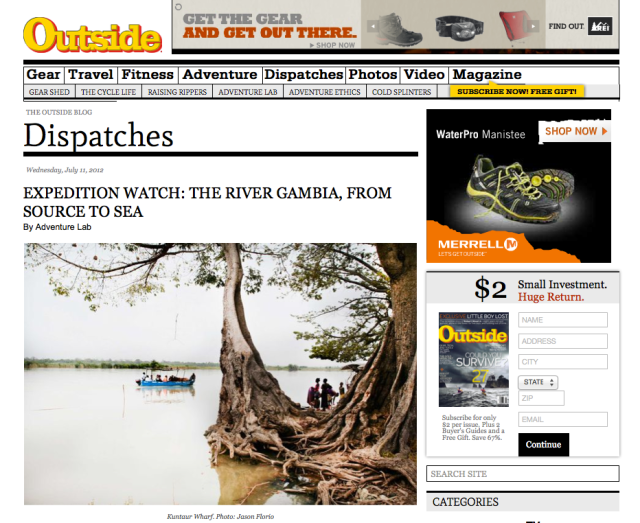 Outside Magazine - River Gambia Expedition 2012