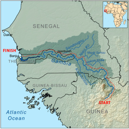 The River Gambia Expedition Route Map